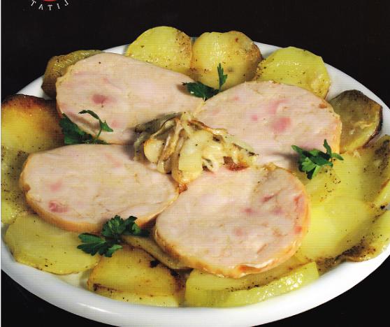 Redondo de pavo a la patata pobre